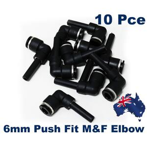 10 x Pneumatic Push Fit 6mm Elbow Male-Female