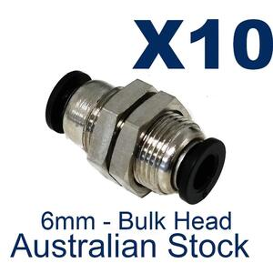 10 x Pneumatic Push Fit 6mm Bulkhead
